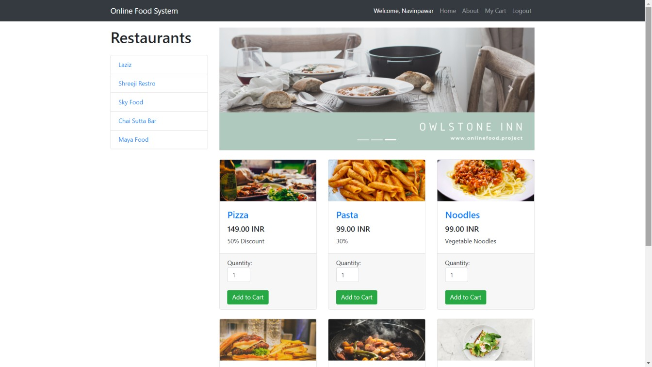 Online Food System In PHP With Source Code