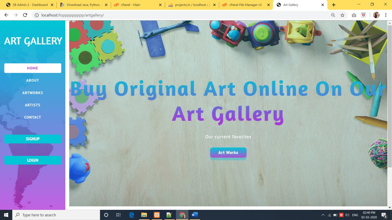Art gallery project in php with source code
