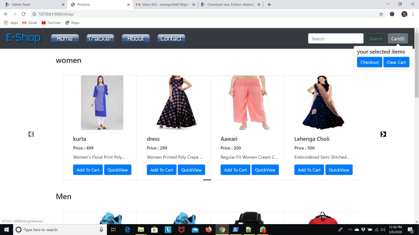 E Commerce Website Project in Python (Django)